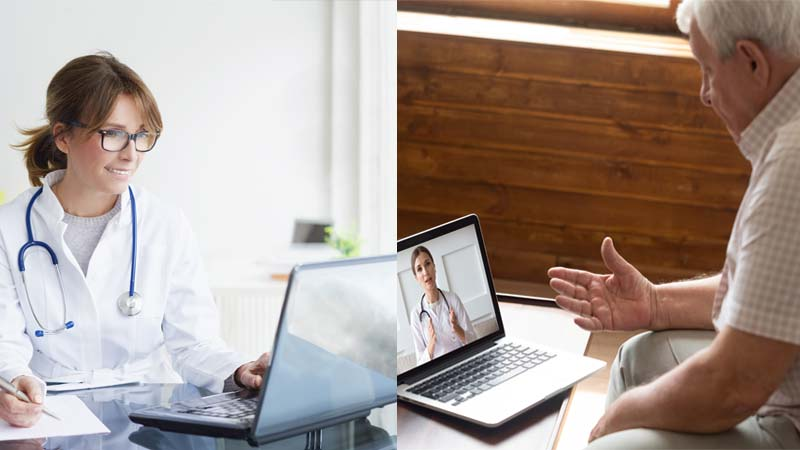 Doctor and Patient in a telemed virtual visit.
